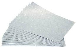 Фоамиран з глітером на клейовій основі 2 мм 30 х 20 див срібло