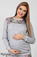 Стильный и комфортный свитшот для беременных и кормящих из меланжевого трикотажа двунитка с кокетками