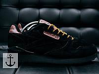 Мужские кроссовки Reebok Classic  Черные Замш Реплика ААА+