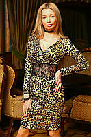 Леопардовое платье с гипюром 87 ВМ