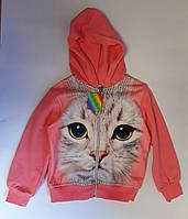 Кофта для девочек Кошка, на молнии, с начесом, 3 года Размер 104 Розовый Хлопок 32279(104) Китай