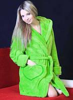"""Теплый махровый халат """"Сердечко"""" домашний женский на поясе зимний велсофт мягкий с капюшоном Украина"""