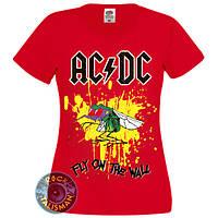 Футболка женская ACDC - Fly On The Wall - красная