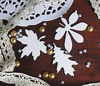 Чипборд для скрапбукинга Осенние листочки набор 3 шт. 5,3*13,4 см, белый картон 1,5 мм