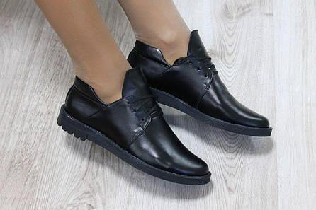 Туфли кожаные на шнурках черные