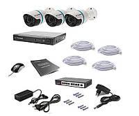 Комплект проводного видеонаблюдения Tecsar IP 3OUT, фото 1