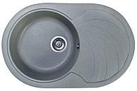 Кухонная гранитная мойка 78*50 Valetti цвет серый овальная серия Europe модель №33