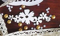 Чипборд для скрапбукинга Цветы бордюр 8,7*3,4 см, белый картон 1,5 мм
