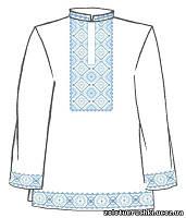Сорочка мужская под вышивку крестом белого цвета с длинным рукавом ТПК-162 21-03/08