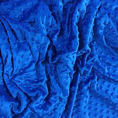 Лоскуток. Плюш Minky синего цвета 320г/м2 № м-76   76*160 см.