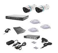 Комплект проводного видеонаблюдения Tecsar IP 2OUT, фото 1