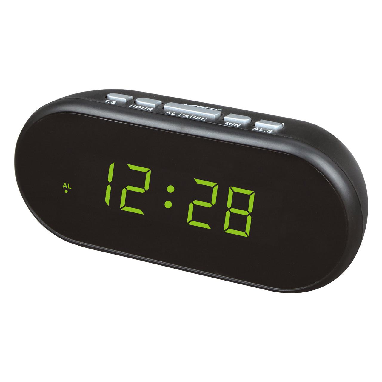 Часы настольные с будильником vst-712-2, зеленая подсветка времени, питание от сети + 2 х ааа
