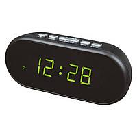 Часы настольные с будильником vst-712-2, зеленая подсветка времени, питание от сети + 2 х ааа, фото 1