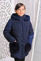 Красивая зимняя курточка для девочки Сабина джинс