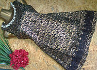 Платье из парчи с жемчугом 829 черный+золото 44-46р