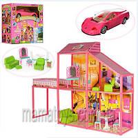 Домик для куклы Барби 6981. 2 этажа, 4 комнаты, машинка