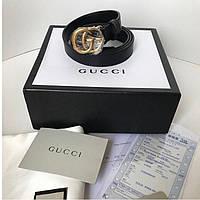 Женский кожаный ремень Gucci с пряжкой-логотипом золото 2 см