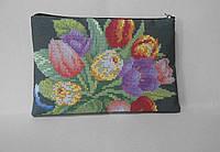 Заготовка под кошелёк Тюльпаны чёрный