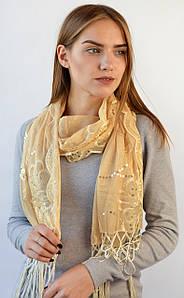 Нарядный шарф c пайетками беж
