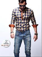 Рубашка мужская в клетку с длинным рукавом, фото 1