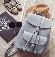 Рюкзак женский с карманами в стиле Grafea серый.