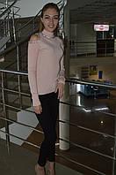 Женская однотонная кофта c открытими плечами с стразами Турция, фото 1