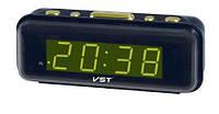 Электронные часы с будильником vst 738-2, мягкое зелёное свечение дисплея, 220в, резервное питание 9в