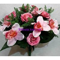 Искусственные цветы Камелия+Орхидея микс