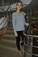 Женский свитер крупной вязки с разрезами на плечах Italy, фото 1