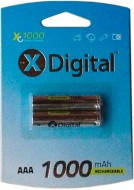Батарейка X-Digital аккумуляторная HR3 ААА.1000mAh. мизинчиковая. цена за 1шт