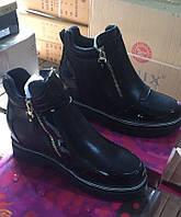 Чёрные ботинки демисезонные женские на молнии Размеры 36-41