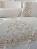 Комплект белья сатин с кружевом и вышивкой Dantela Vita Lorinda krem