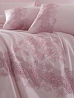 Комплект белья сатин с кружевом и вышивкой Dantela Vita Lorinda pudra