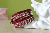 Красный кожаный браслет на 2 оборота со стразами Swarovski