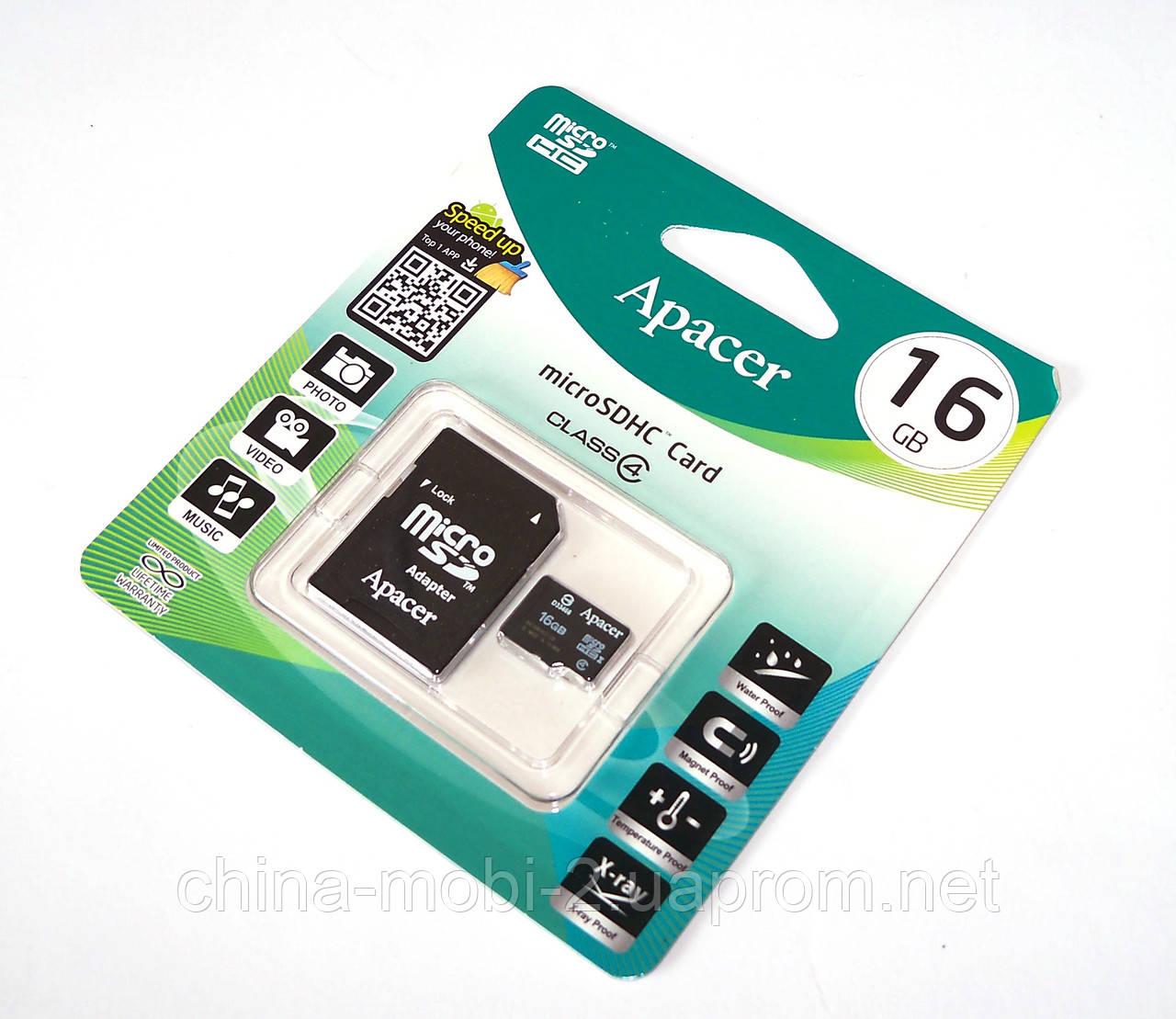 Карта памяти 16ГБ microSDHC Apacer 16Gb class 4 + SD adapter (флешка microSDTF)