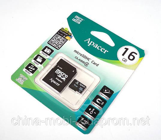 Карта памяти 16ГБ microSDHC Apacer 16Gb class 4 + SD adapter (флешка microSDTF), фото 2