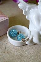 Голубые серьги с камнем Dior