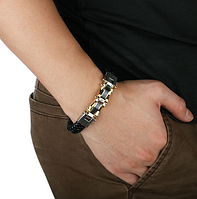 Мужской браслет с плетением (нержавеющая сталь)