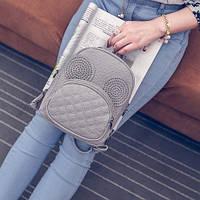 Маленький рюкзак-сумочка городской с ушками серый
