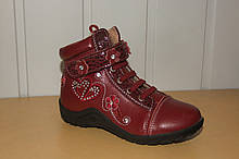 Демісезонні черевики на дівчинку 27 р бордовий.