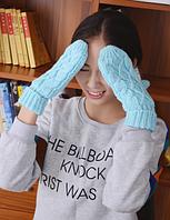 Голубые варежки с мехом