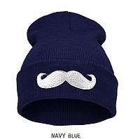 """Синяя женская шапка """"Усы"""""""
