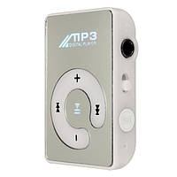 Зеркальный MP3 плеер Клипса + Наушники +USB переходник white (белый)