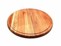 Доска разделочная круглая деревянная. для пиццы. 26 см