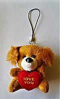 Собачка с сердечком мягкая игрушка на подвеске