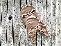 Универсальный махровый спальник-конверт 0-6м коричневый