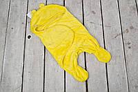 Универсальный махровый спальник-человечек конверт кокон  0-6 м желтый