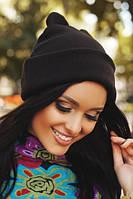 Черная женская шапка с ушками