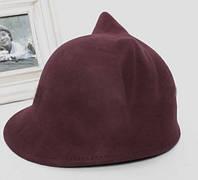 Коричневая женская шляпа с ушками