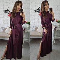 Длинное шелковое платье бордового цвета